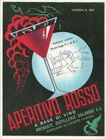 """2391 """" APERITIVO ROSSO A BASE DI VINO - DISTILLERIE COLOMBO """" ETIC. ORIG. - Etiketten"""
