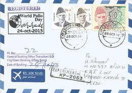 Pakistan 2013 Tharechani Sanghi World Polio Day Registered Cover - Enfermedades