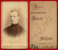 5-22103 BOZEN / BOLZANO Italy 1880s. Man. CDV Photo On Cardboard ANSTALT.. - Antiche (ante 1900)