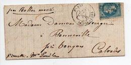 - Lettre Par Ballon Monté PARIS Pour BONNEVILLE (Calvados) 20.12.1870 - 20 C. Bleu Napoléon III Lauré - - 1849-1876: Période Classique