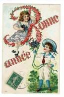 Carte Illustrée Gauffrée - Bonne Année (Enfants, Bouquets De Violettes, Trèfles à 4 Feuilles) Circulé 1907, UPU - Thanksgiving