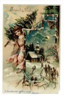 Carte Illustrée Gauffrée - Joyeux Noêl (La Cloche Sonne Pour Appeler Les Villageois à La Messe De Minuit) Circ 1903, UPU - Thanksgiving