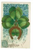Carte Illustrée Gauffrée - Bonne Année (Enorme Trèfle à 4 Feuilles Portant Un Fer à Cheval Doré) Circulé 1905, UPU - Thanksgiving