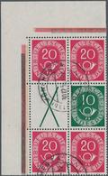 Bundesrepublik - Zusammendrucke: 1951, Posthorn 20+X+20 Sowie 20+10+20 Im Gestempelten Eckrand-Sechs - BRD