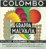 """2392 """" GRAPPA MALVASIA - COLOMBO-DIST. COLOMBO- CARDANO AL CAMPO-VA"""" ETIC. ORIG. - Etiketten"""