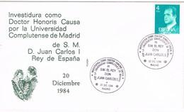 31407. Carta MADRID 1984. Investiudura Rey Juan Carlos Doctor Universidad Complutense - 1931-Hoy: 2ª República - ... Juan Carlos I