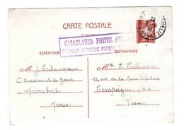 Marrakech, Casablanca Postes Aviation Surtaxe Aérienne Preçue D-sur Entier Pétain - Marcophilie (Lettres)