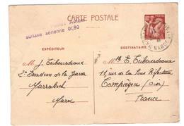 """Marrakech  """"Casablanca Postes Aviation Surtaxe Aérienne Preçue """"sur Entier 0941 - Marcophilie (Lettres)"""