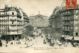 CPA - PARIS - GARE DU NORD ET BLD DENAIN - France