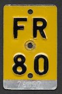 Velonummer Mofanummer Fribourg FR 80 - Plaques D'immatriculation