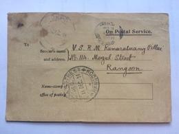 BURMA - Postal Service Acknowledgement Card - Okpo And Rangoon Postmarks - Birmanie (...-1947)