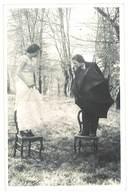 Cpa Carte-photo Taussac , Mussidan, 2 Femmes Sur Chaises, Jumelles , Montage Photo ? ( 24 ) - Mussidan