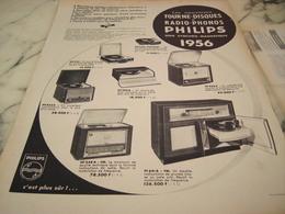 ANCIENNE PUBLICITE TOURNE DISQUE ET RADIO PHONOS PHILIPS 1956 - Publicité