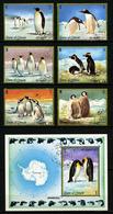 UMM AL QIWAIN - ANIMAUX - MANCHOTS - YT 106 + PA 39 + BLOC - SERIE COMPLETE 6 TIMBRES + BLOC OBLITERES - Stamps