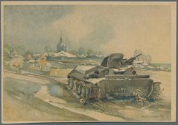 Ansichtskarten: Propaganda: 1941/1943, Russlandfeldzug, 14 Großformatige Farbige Künstlerzeichnungen - Partis Politiques & élections