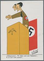 Ansichtskarten: Propaganda: 1945,ANTI-NS, 9 Kolorierte Karikaturen Aus Holland, Sign. Smits, Mit Div - Partis Politiques & élections