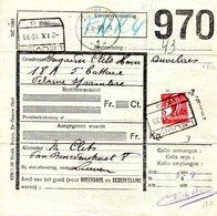 COLIS DU SOLDAT 1939 COB.CF. 204 Surcharge 6 Fr B Sur 5,50 Fr B Coupé En Deux 970 Leuven -Auvelais - 1923-1941