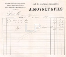 15-0843    1878   A. MOYNET & FILS A PARIS - M. PEYGUE - France