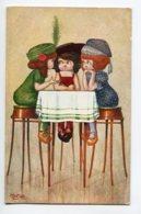 ILLUSTRATEUR 0063 A.BERTIGLIA Trio De Fillettettes Médisance Autour D'une Table - Bertiglia, A.