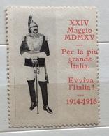 PER LA PIU' GRANDE ITALIA EVVIVA L'ITALIA 1914 - 1916  XXIV MAGGIO MCMXV    CHIUDILETTERA ETICHETTA PUBBLICITARIA - Francobolli