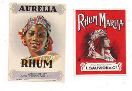 2  Petites étiquettes  Rhum  Aurélia J.Berthelot, Gong-Pontouvre Et Marita I.Sauvion & Cie - - Rhum