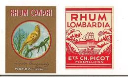 2  Petites étiquettes  Rhum  Canari , Léopold Brugerolle à Matha Et Lombardia Ets Picot à Montluçon - - Rhum