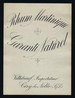 Ancienne Etiquette  Rhum Martinique Garanti Naturel  Importateur J Villebeuf  Ciry Le Noble - Rhum