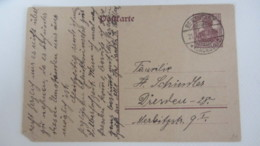 DR: GA Postkarte Mit 15 Pf Germania Stpl. BERNSTADT (SACHSEN) Vom 21.4.20 Knr:  P 116I - Briefe U. Dokumente