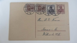 DR: GA Postkarte Mit 15 Pf Germania Mit Zusatzfr. 15 Pf, 2 X 5 Pf - Stpl. GLAUCHAU Nach Meerane  19.4.21 Knr: P116 I Ua. - Deutschland