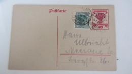 DR: GA Postkarte Mit 10 Pf Nationalversammlung + 5 Pf Germania, Stpl. GERSDORF (BZ. CHEMNITZ) Vom 6.1.20 Knr: P 115 - Briefe U. Dokumente