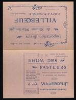 """Ancienne Etiquette  Rhum Des Pasteurs Martinique  J A Villeboeuf """"Tarif Année 1920"""" - Rhum"""