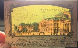 Genève HOLD-TO-LIGHT Carte Diaphanie Place Neuve Animée 1904 Lautz Und Balzar Darmstadt - GE Genève