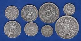 Uk  8  Pieces  Arg - 1902-1971 : Monnaies Post-Victoriennes