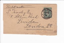 Natal South Africa Postal Wrapper 1906 ? Point To London 2 Scan - Francobolli