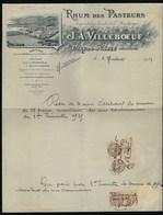 Ancienne Facture  Rhum Des Pasteurs Martinique  J A Villeboeuf  Datée Du 8 Juillet 1935 + Timbres Fiscal - Rhum