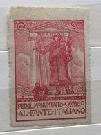 CENT.20 PER IL MONUMENTO OSSARIO AL FANTE ITALIANO   ERINNOFILO CHIUDILETTERA ETICHETTA PUBBLICITARIA - Francobolli