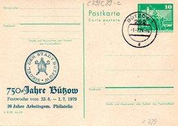"DDR Amtl.Ganzsache M.priv.Zudruck""Neptunbrunnen,10Pf.grün"" P79/C89c ""700 Jahre Bützow"" TSt 26.6.79 BÜTZOW 1 - Cartes Postales - Oblitérées"