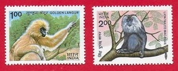 INDIA MNH - 1983 Indian Wildlife. Monkeys - 1 + 2 ₹ - Michel IN 962 - 963 - India