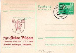 """DDR Amtl.Ganzsache M.priv.Zudruck""""Neptunbrunnen,10Pf.grün"""" P79/C90a """"700 Jahre Bützow"""" TSt 1.7.79 BÜTZOW 1 - Cartoline - Usati"""