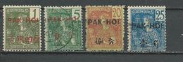 PAKHOI Scott 17, 20, 23, 24 Yvert 17, 20, 23, 24 (4) O 41,50 $ 1908 - Pakhoï (1903-1922)