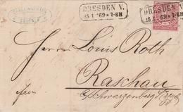 Allemagne Du Nord Lettre Dresden 1869 - Allemagne
