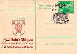 "DDR Amtl.Ganzsache M.priv.Zudruck""Neptunbrunnen,10Pf.grün"" P79/C90b ""700 Jahre Bützow"" SSt 23.6.79 BÜTZOW 1 - [6] République Démocratique"