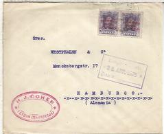 SPAIN TETUAN MARRUECOS MOROCCO OVERPRINT ALFONSO XIII VAQUER MAILED COVER TO HAMBURG GERMANY 1925 - 1889-1931 Reino: Alfonso XIII