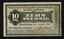GEFANGENENLAGER GELD LAGERGELD BILLET CAMP QUEDLINBURG PRISONNIER ALLEMAGNE KG POW GUERRE 1914 1918 - [10] Military Banknotes Issues