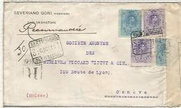 SPAIN SAN SEBASTIAN  REGISTERED COVER TO GENEVE ALFONSO XIII 1916 WW1 FRENCH CENSORA GENEVE POSTMARK ON BACK - 1889-1931 Reino: Alfonso XIII