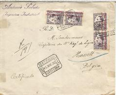 SPAIN BARCELONA 1932 REGISTERED COVER TO HASSELT BELGIUM REPUBLICA OVERPRINT DISPLACED - 1931-Hoy: 2ª República - ... Juan Carlos I