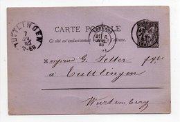 - CARTE POSTALE LANGRES (Haute-Marne) Pour TUTTLINGEN (Allemagne) 6.7.1883 - 10 C. Type Sage - - Ganzsachen