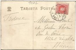 SPAIN VIGO PONTEVEDRA POSTCARD TO HAVRE 1907 AMULANTE AMBULANCE RAILWAY CANCEL VIGO MONFORTE - 1889-1931 Reino: Alfonso XIII