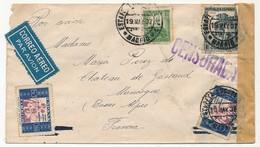 """Enveloppe Depuis Madrid, Affranchissement Composé 1937 - Griffe """"Censurada"""" Et Bande Neutre - 1931-50 Briefe U. Dokumente"""