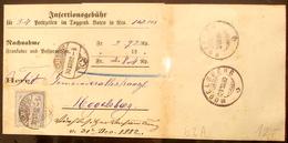 Schweiz Suisse 1882: 12c Blau Zu 62A Mi 55X Yv 67  Mit O LICHTENSTEIG 30.XII.82 Via HOFFELD 31.XII.82 Nach MOGELSBERG - 1882-1906 Armoiries, Helvetia Debout & UPU